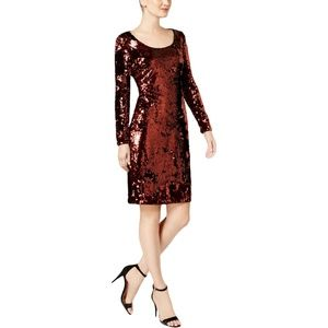 Brown Copper Sequined Sheath  Dress